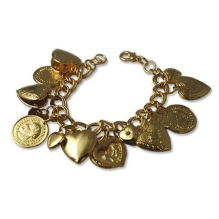 BEAUTIFUL COIN & LOCKET BRACELET NEW WITH LOBSTER CLAW CLASP NICE QUALITY