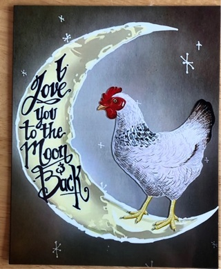 """CUTE CHICKEN I love you to the moon - 4 x 4"""" MAGNET"""