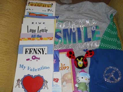 kids misc box books/clothes/ect
