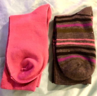 Brand New: Two Pairs Soft Gray Striped & Pink  Cotton Circulation Socks. Non Binding.