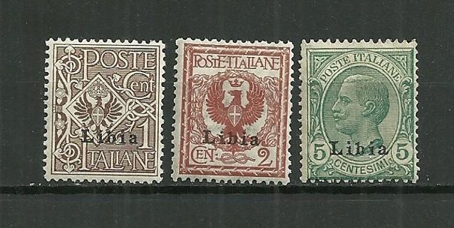 1912-5 Libya SC#1-3 mint with disturbed gum