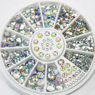 5 Size Mixed Lot Glitter Rhinestone 3D Nail Art Decor Cute DIY Accessories Wheel