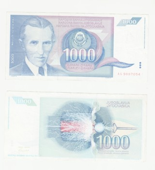 2 Nikola Tesla notes 1000 Dinara Jugoslavija