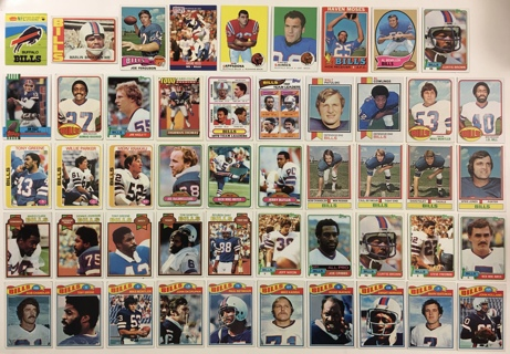 49 Buffalo Bills 1960s 70s 80s 90s Vintage Topps Fleer Pro Set Football Cards Andre Reed / Jim Kelly