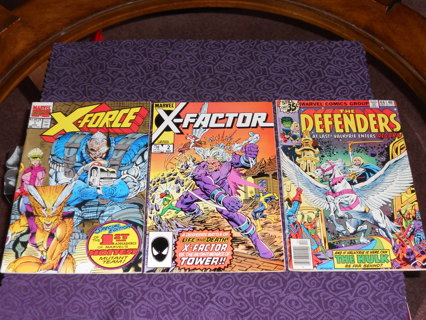 (1978-1991) BRONZE/COPPER LOT OF 3 * X-FACTOR #2, X-FORCE #1 AND DEFENDERS #66 * VINTAGE!