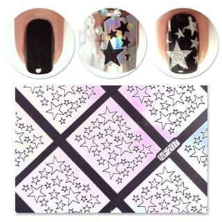 9 Tips/Sheet Laser Nail Art Vinyls Stickers Stencils Holo Star Manicure Tips