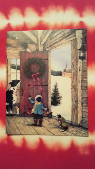 Christmas Card - Barn Door Wreath