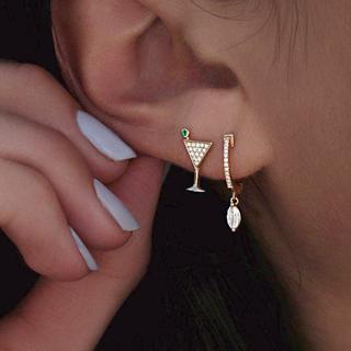 2 Pcs Bohemian Fashion Charm Crystal Gold Wine Glass Circle Drop Pendant Earrings Set Women