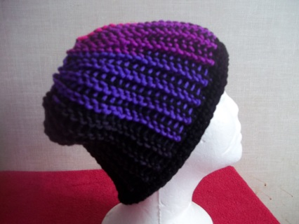 Crocheted Ombre and Black Messy Bun Hat