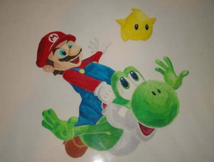 Free Mario Colored Pencil Drawing Other Video Game