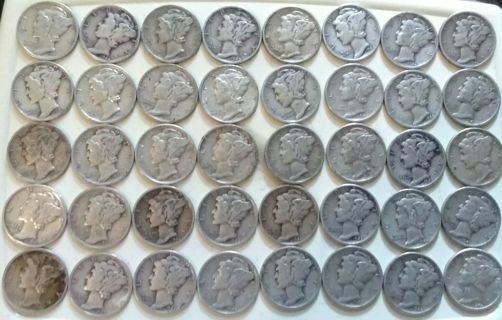 Mercury Silver Dime Coin from lot (1) ONE to the winner
