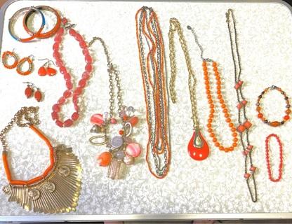 Pre owned , Orange Costume Jewelry