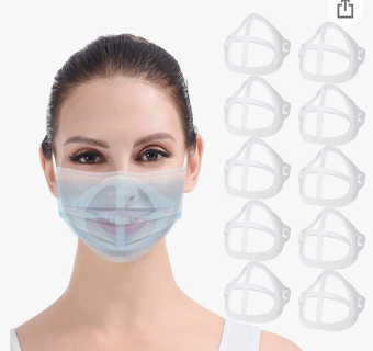 10Pcs 3D Bracket for Face Mask Inner Support Frame Keep Fabric off Mouth to Create More Space