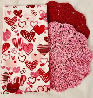 "Crochet VALENTINES 2 - 9"" Dish Cloth/Wash Cloths 1 TERRY CLOTH TOWEL"
