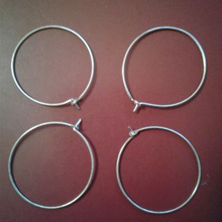 4 Silvertone Hoop Earrings