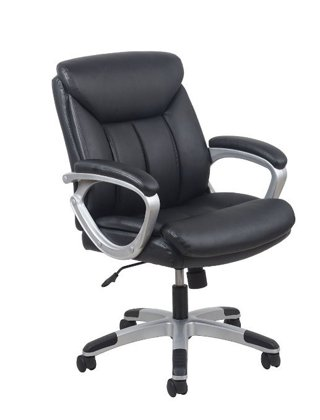 1 NEW Essentials by OFM Leather Executive Office Chair with Arms, Black/Silver