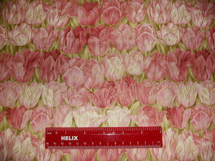 "COTTON QUILTING FABRIC :Tulip Print in Pink &  Green  - Fat Quarter Approx 18"" by 22"""