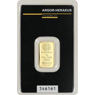 5 gram Argor-Heraeus Bar .999+ Fine (Secondary Market)