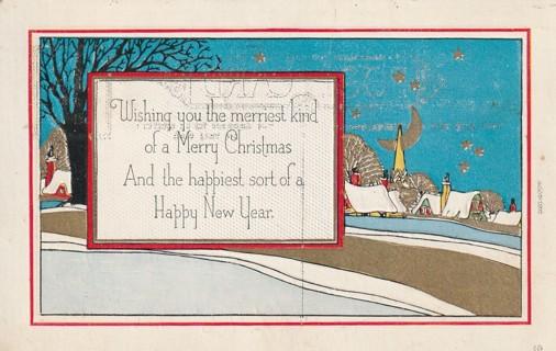 Vintage Used Postcard: Embossed: 1962 Wishing you Merry Christmas