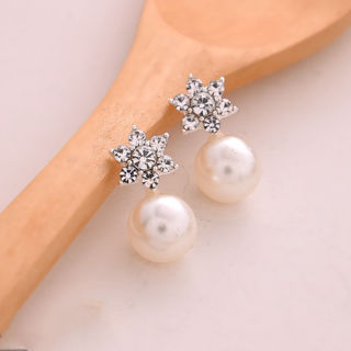 Women Elegant Jewelry 1 Pair Sweet Crystal Rhinestone Pearl Ear Stud Earring