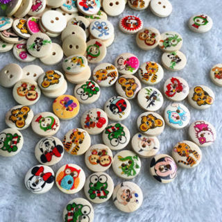 50PCs 15mm Printed Wood Button Animals Round 2 Holes DIY Sewing Craft Accessories