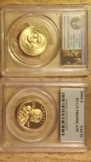 2004-S SAC1$ PCGSPR69DCAM, 2007-P 1$ WASHINGTON PCGS MS66 FIRST DAY OF ISSUE