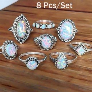 8PCS/Set Ring Silver White Fire Opal Ring Wedding Engagement Ring Women Jewelry