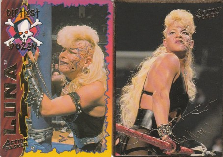 WWF (WWE) Action Packed 1994 ~ LUNA VACHON (rip) 2 Card Gold Lot