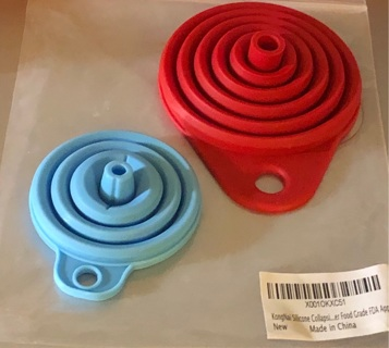BNIP Two Silicone Expandable Funnels. One Large in Red and One Small Blue. FDA Approved