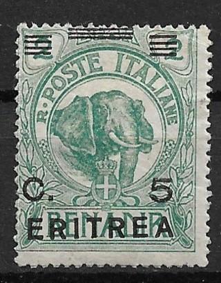 1922 Eritrea Sc59 surcharged Elephant 5c MHR