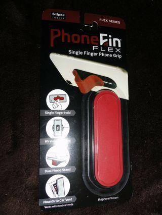 Phone Fin Flex Series Red Single Finger Phone Grip Stand Attachment PhoneFin Pop Holder