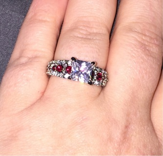 Stunningly Beautiful CZ & simulated Ruby Silver Plated ring size 10