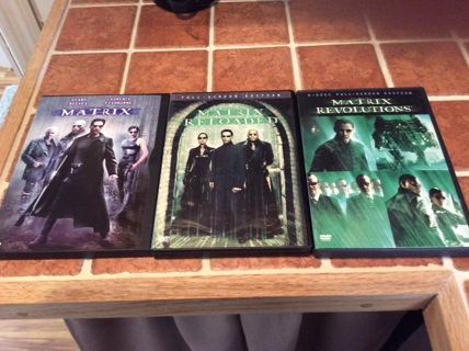 THE MATRIX TRILOGY DVDs Movie Lot MATRIX-MATRIX RELOADED-MATRIX REVOLUTIONS