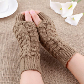 Unisex Men Women Knitted Fingerless Winter Glove