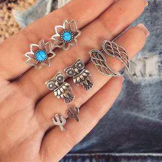 4 Pairs/set Women Bohemia Retro Gem Owl Lotus Hollow Feather Silver Earrings Set Fashion Jewelry