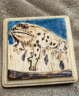 "Handmade Pyrography (Wood Burning) Art by Detrick Martin ""Frog on a Log"""