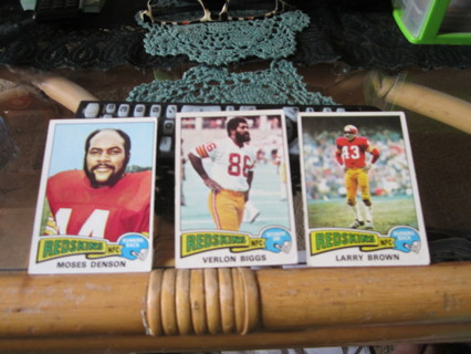 "***1975 TOPPS "" VINTAGE "" FOOTBALL CARDS***M. DENSON / V. BIGGS / L. BROWN***WASH. REDSKINS***"