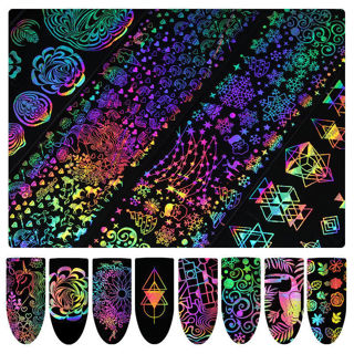 Dreamcatcher Nail Art Transfer Stickers Wholesale 8x Holographic Nail Foil Xmas