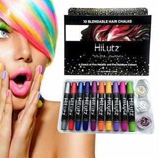 10 Metallic Hair Chalks Glitter & Face Paint Kit