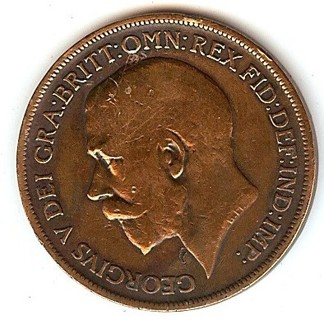 1916 GREAT BRITAIN LARGE PENNY * EARLY BRITISH COIN * POLISHED