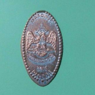 MASONIC 33rd DEGREE Freemasonry Fraternal Organization Elongated Pressed Penny - Free Shipping