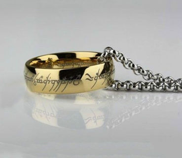 Lord of the Rings stainless steel gold ring and chain