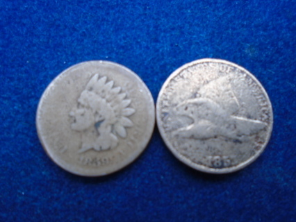 1857 & 1859 U.S. ONE CENT COINS! FULL DATES!