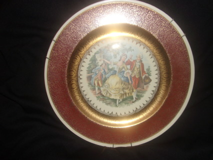 Gold Warranted 22k George and Martha Washington Cranberry Antique 1819 Collectors Plate