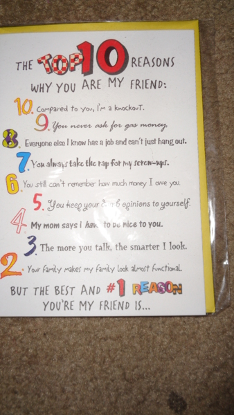 Free: Top 10 Reasons Why You Are My Friend Birthday Card