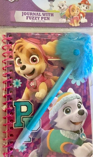 """Brand New: """"Nickelodeon PAW PATROL"""" Stationery. Fuzzy Pen & 60 Page 'HERE TO HELP' Journal"""