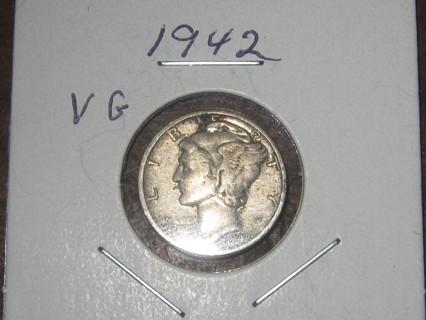 1942 Mercury Dime VG