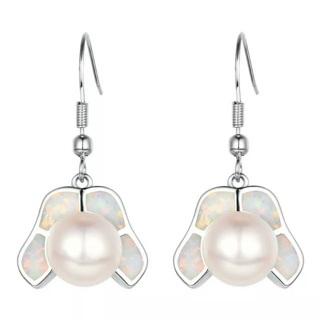 Fire Opal Pearl Earrings