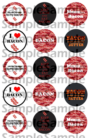 """I love Bacon 1 inch(1"""") DIGITAL Bottle Cap Image Collage Sheets - EMAILED"""