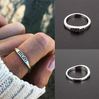 Silver Rings Letter Jewelry Gift For Mom